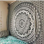 Indian Mandala Tapestry Wall Hanging Black & White Elephant Hippy Tapestries Twin Hippie Beach Throw College Dorm Decor Bohemian Boho Bedsheet