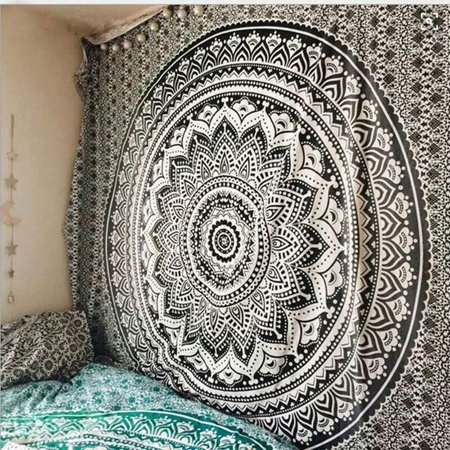 Hippy Home Decor (Indian Mandala Tapestry Wall Hanging Black & White Elephant Hippy Tapestries Twin Hippie Beach Throw College Dorm Decor Bohemian Boho)