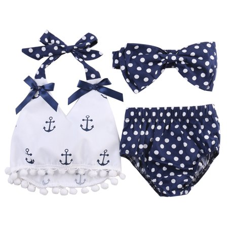 Cheap Infant Boutique Clothing (StylesILove Chi Infant Baby Girl Anchor Top with Polka Dots Bloomers Sunsuit Clothing Set (70/3-6)