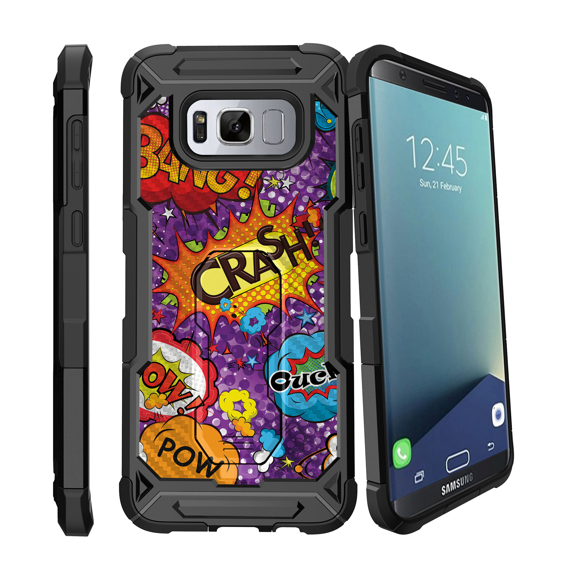 Case for Samsung Galaxy S8 Plus Version [ UFO Defense Case ][Galaxy S8 PLUS SM-G955][Black Silicone] Carbon Fiber Texture Case with Holster + Stand Comic Collection