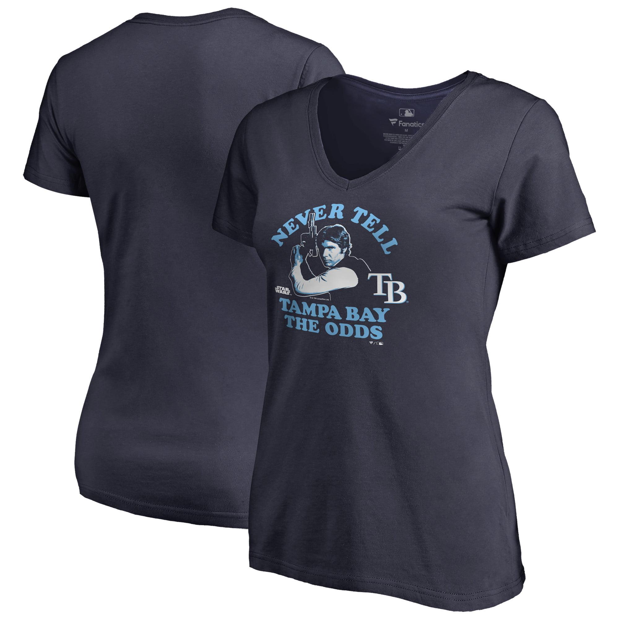 Tampa Bay Rays Fanatics Branded Women's Star Wars Never Tell the Odds V-Neck T-Shirt - Navy