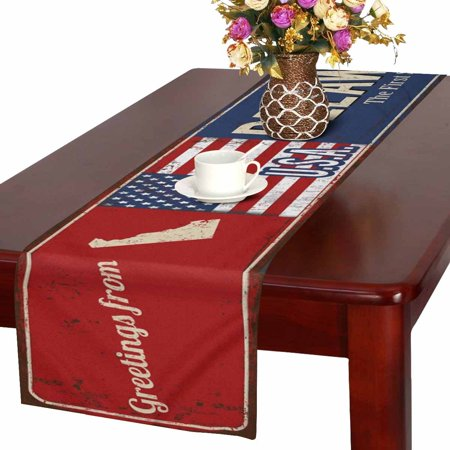 MKHERT Delaware State Vintage Rusty Metal Sign with American Flag Table Runner for Office Kitchen Dining Wedding Party Banquet 16x72 - Party Store Delaware