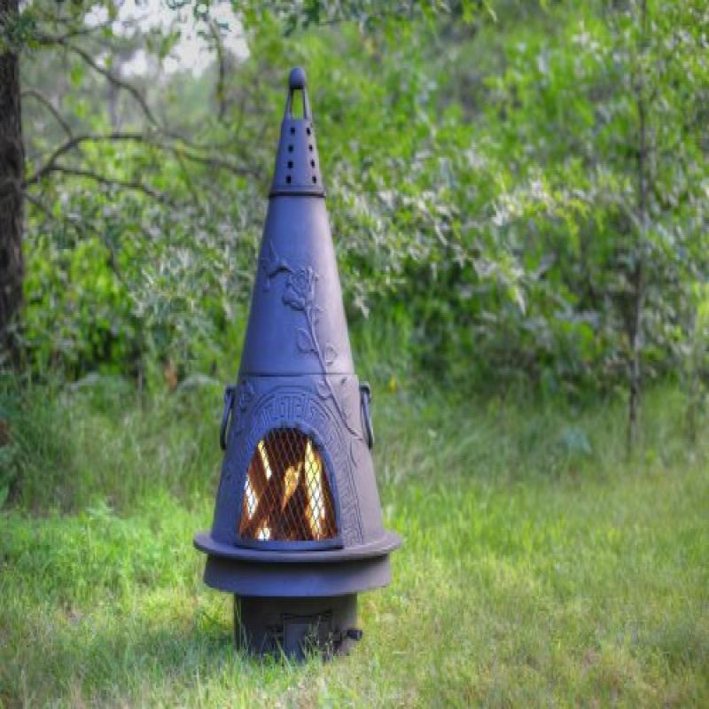 The Blue Rooster Co. Garden Style Cast Iron Wood Burning Chiminea in Charcoal. by