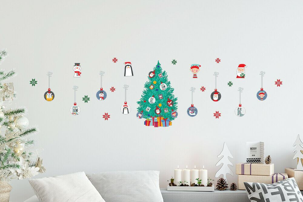Christmas Wall Stickers Wall Window Glass Home Decoration Sticker Decal Mural US