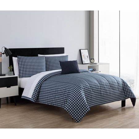 Mainstays Gingham 8-Piece Bed in a Bag Comforter Set ()