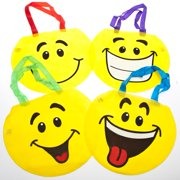 Lot of 12 Yellow Smile Face Tote Party Favors Loot Bags