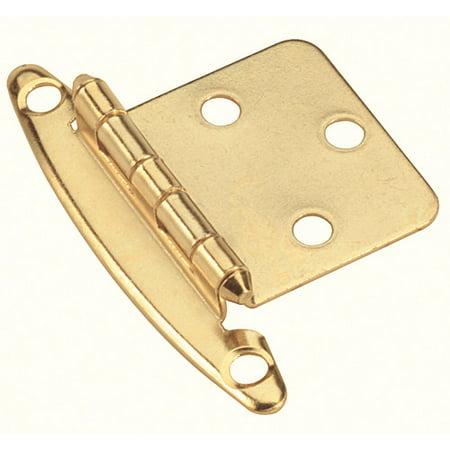 Variable Overlay Non Self-Closing, Face Mount Polished Brass Hinge - 2 (Non Self Closing Overlay Hinge)