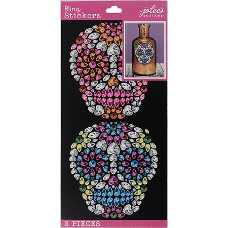 Wilton Sugar Skull Bling Stickers, 2 - Flaming Skull Sticker