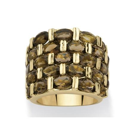 - 15.07 TCW Round Genuine Smoky Quartz 14k Yellow Gold-Plated Five-Row Ring