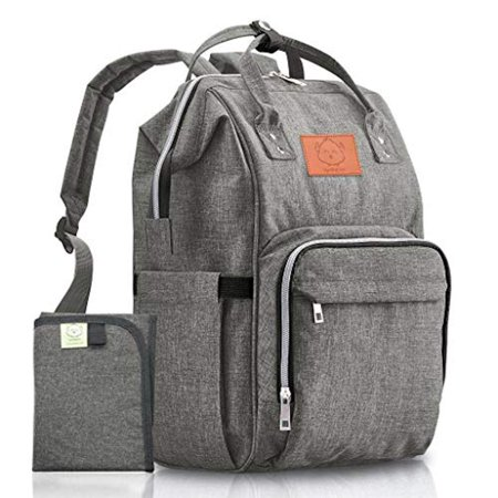 Diaper Bag Backpack Large - Multi-Function Waterproof Baby Travel Bags for Mom, Dad, Men, Women - Large Maternity Nappy Bags for Baby - Durable, Stylish - Diaper Mat Included (Classic Gray)