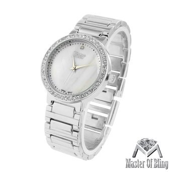 Milky White Dial Watch Ladies Platinum Simulated Lab Created Cubic Zirconia Bezel Luxury