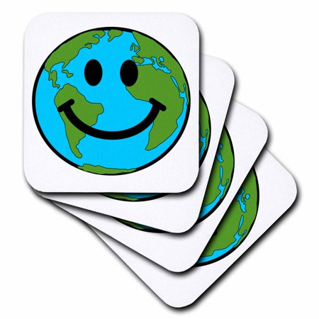 3dRose Happy Earth smiley face - smiling planet globe - eco green smile peaceful world peace cute smilie, Soft Coasters, set of 8](Smiley Face Lights)