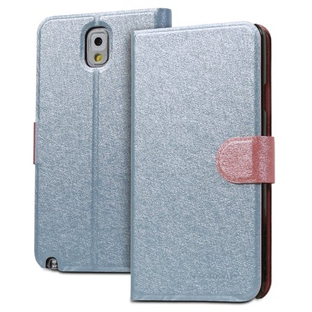 Fosmon CADDY-SILK Leather Wallet Flip Case for Samsung Galaxy Note 3 III (Sky Blue /