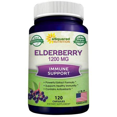 Elderberry 1200mg Supplement - 120 Capsules - Black Sambucus Nigra Elder Berry Extract Pills -Natural Immune System Support & Cold Relief - Pure Elderberries Antioxidant Immunity Booster