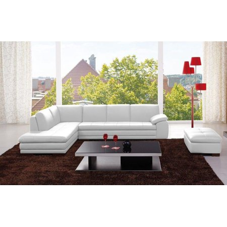 J&M 625 Contemporary Premium White Leather Upholstery Sectional Sofa Left  Hand