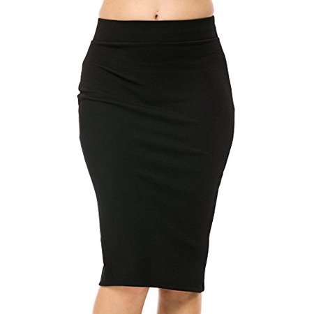 StylesILove Textured Liverpool Womens Pencil Skirt with Back Split (XL, Black) Button Back Pencil Skirt