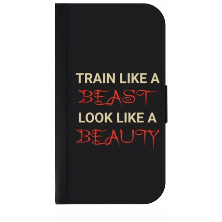 Train Like a Beast Look Like a Beauty - Gym Quote - Wallet Style Cell Phone Case with 2 Card Slots and a Flip Cover Compatible with the Apple iPhone 7 Plus and 8 Plus (Business Card That Looks Like An Iphone)