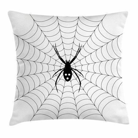 Spider Web Throw Pillow Cushion Cover, Poisonous Bug Venom Thread Circular Cobweb Arachnid Cartoon Halloween Icon, Decorative Square Accent Pillow Case, 18 X 18 Inches, Black White, by Ambesonne - Louis Halloween Icons