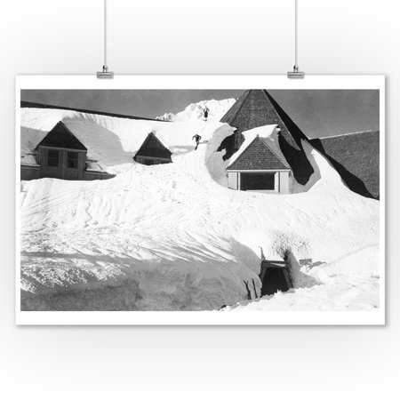 Timberline Lodge Skiing off Roof Mt. Hood Photograph (9x12 Art Print, Wall Decor Travel Poster) ()