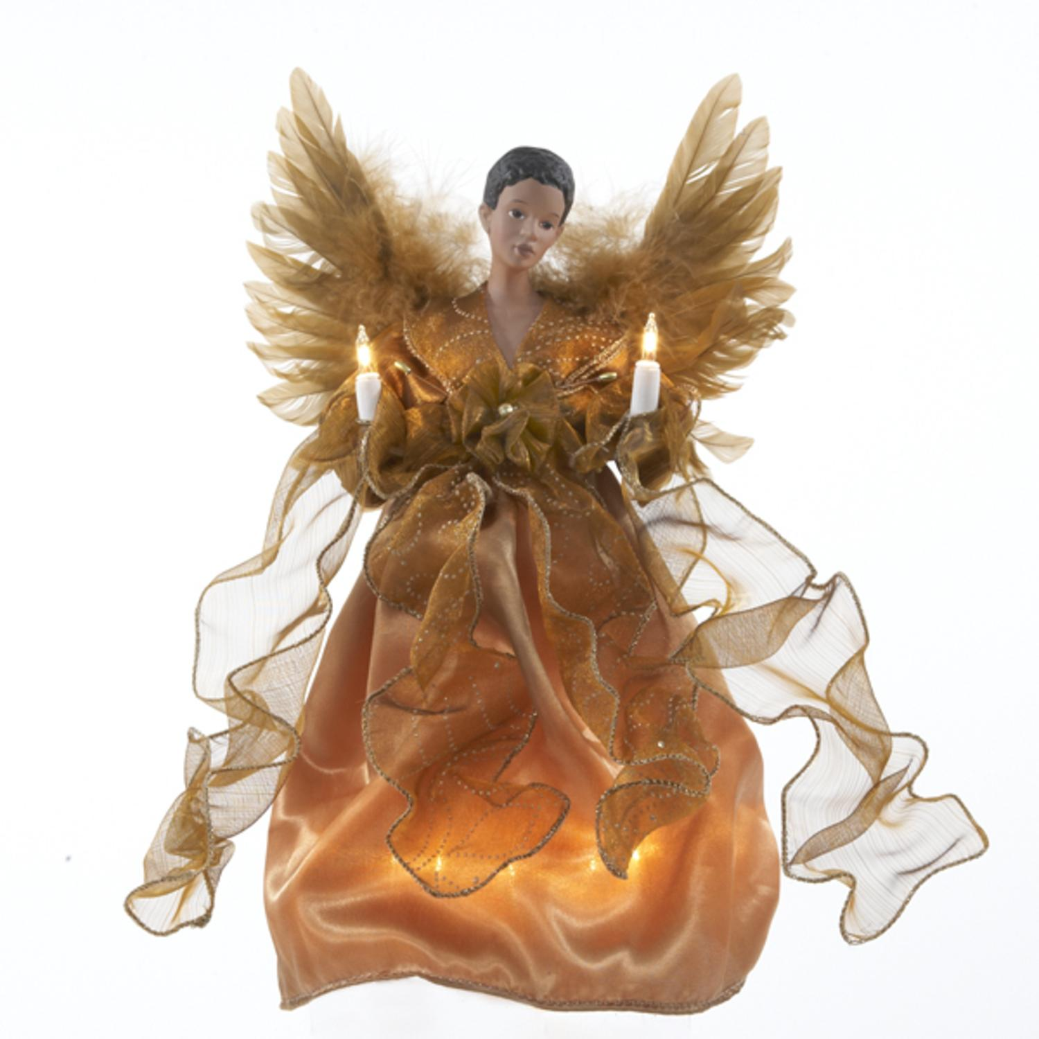 "KSA 13"" Lighted  Golden Winged Angel Christmas Tree Toppe..."
