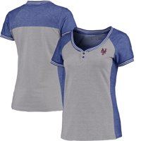 New York Mets Antigua Women's Quick Henley T-Shirt - Gray/Royal