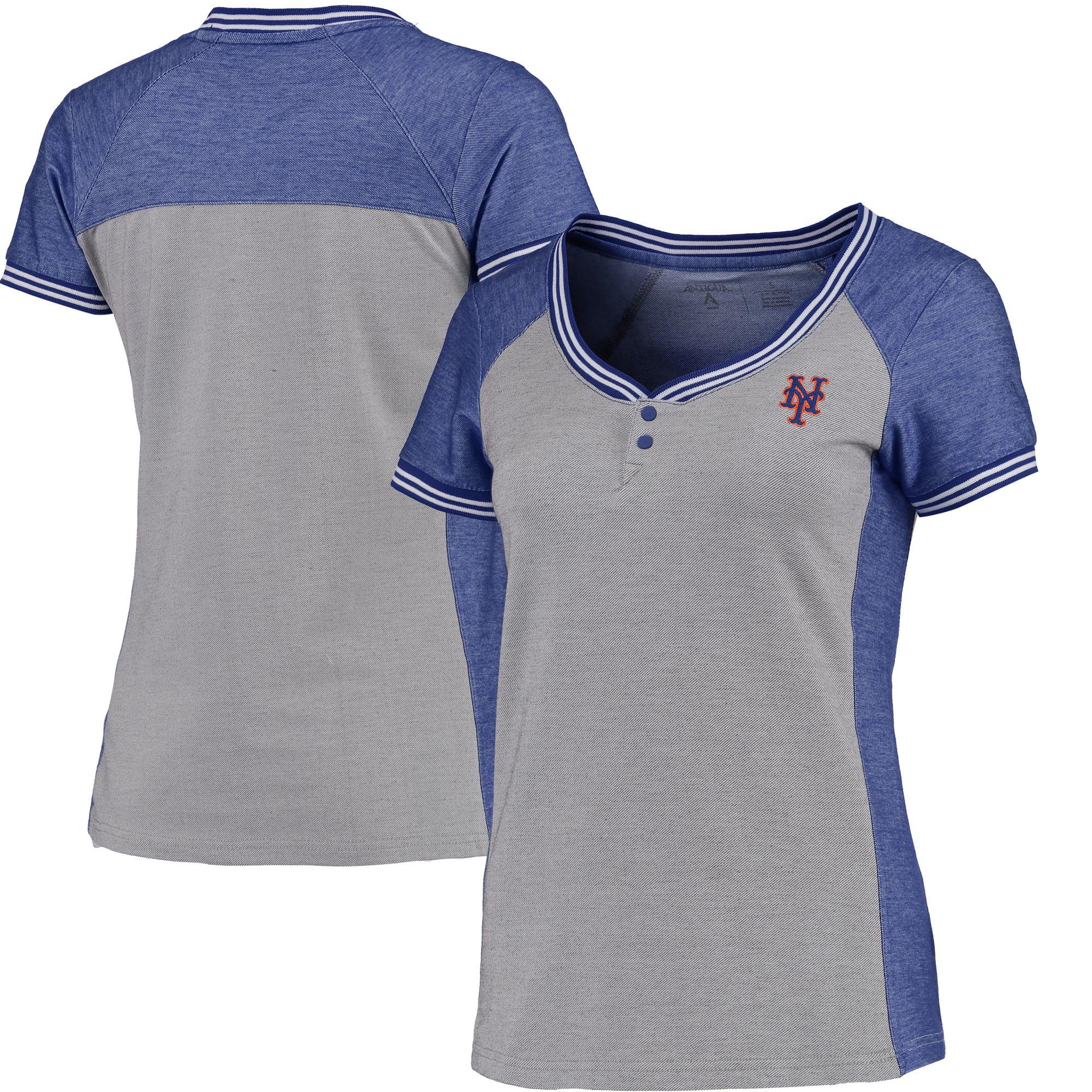 New York Mets Antigua Women's Quick Henley T-Shirt - Gray/Royal