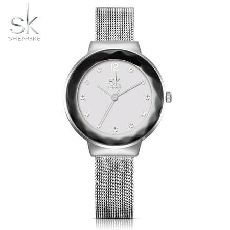 SK 2017 Luxury Diamond Mesh Stainless Steel Women Watches Quartz Water-Proof Ladies Casual Wristwatch Rose Gold/Silver - Watch Halloween 2 2017 Online
