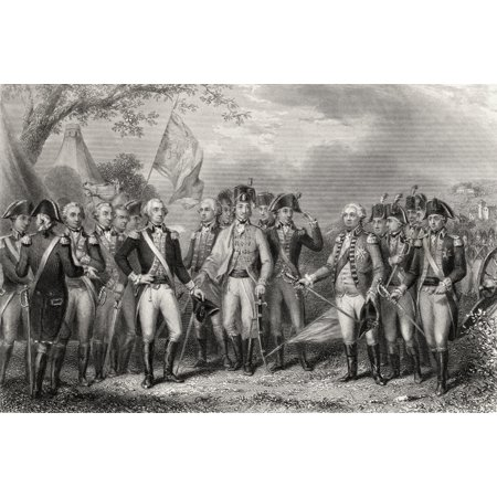 The British Surrendering Their Arms To General Washington 1781 Engraved By J Stephenson After J F Renault Canvas Art - Ken Welsh Design Pics (34 x 22)
