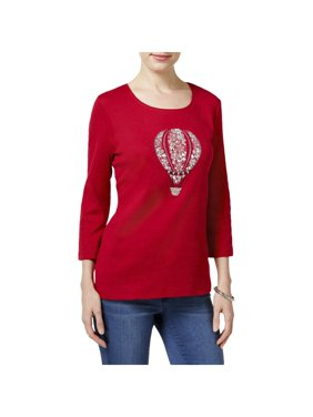 001c8634dfb6 Product Image Karen Scott Womens Petites Balloon Knit Graphic Pullover Top  Red PXL