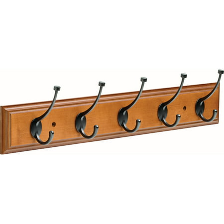Franklin Brass 27 in. Rail with 5 Pilltop Hooks in Warm Chestnut and Soft Iron
