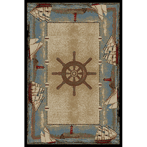 Mayberry Rug American Destinations Beige/Light Blue Area Rug