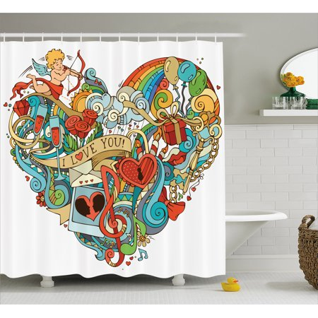I Love You Shower Curtain, Love with Eros Arrow Music Present Boxes Swirls Balloons Ring Marry Me Concept, Fabric Bathroom Set with Hooks, 69W X 70L Inches, Multicolor, by Ambesonne - Marry Me Balloons