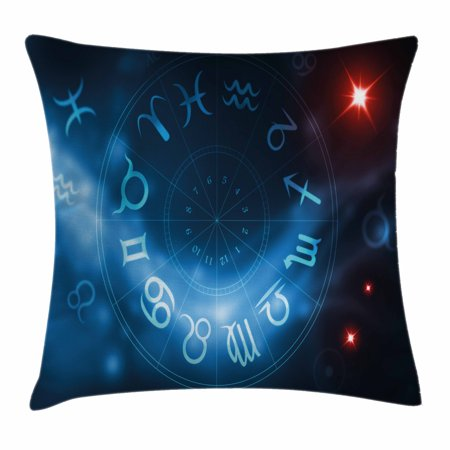 Astrology Throw Pillow Cushion Cover  Horoscope Circle Signs Virgo Scorpio Sagittarius With Abstract Backdrop  Decorative Square Accent Pillow Case  18 X 18 Inches  Blue White And Red  By Ambesonne
