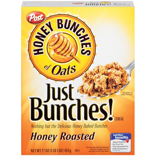 Post Honey Bunches Of Oats Just Bunches Honey Roasted Cereal, 17 oz