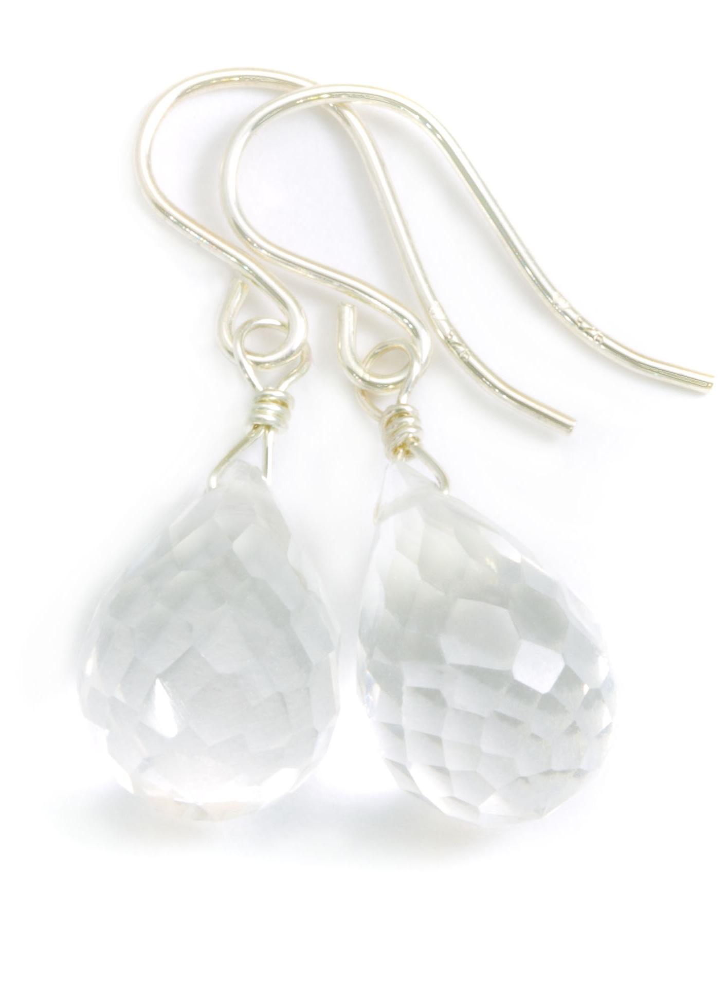Clear Quartz Earrings Faceted Rounded Briolette Shape Teardrop Drops Sterling Silver Spyglass Designs