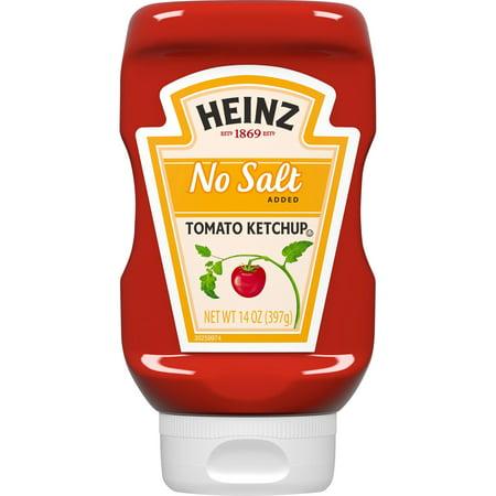 (2 Pack) Heinz No Salt Added Inverted Bottle Tomato Ketchup, 14 oz Bottle