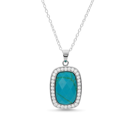 Turquoise Emerald (Sterling Silver Emerald Cut Turquoise and White Topaz Pendant 18 Inch )
