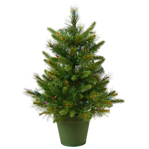The Holiday Aisle Cashmere 2' Green Pine Artificial Christmas Tree with 50 Dura-Lit Clear Lights