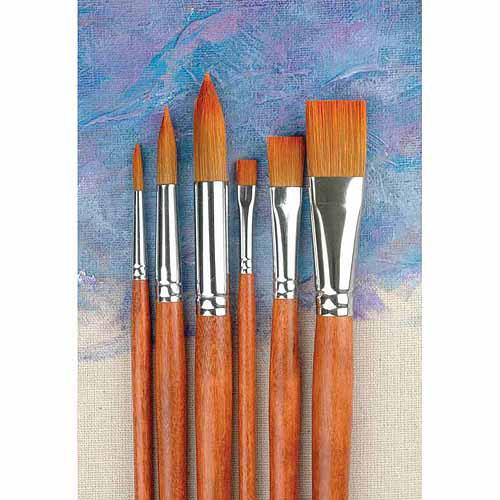 Sax Copper Acrylic Long Wood Handle Paint Brush Set, Assorted Size, Set of 6