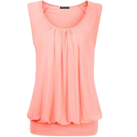 Summer Women Sexy Solid Color O-neck Sleeveless Tops Loose Pleated Cotton Blouse Plus Size T Shirt Fashion Casual Tank (Cotton Tank Top Shirt)