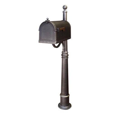 Special Lite Products SCB-1015-SPK-600-SW Berkshire Curbside Mailbox with Ashland Mailbox Post Unit - Swedish Silver Swedish Post Box