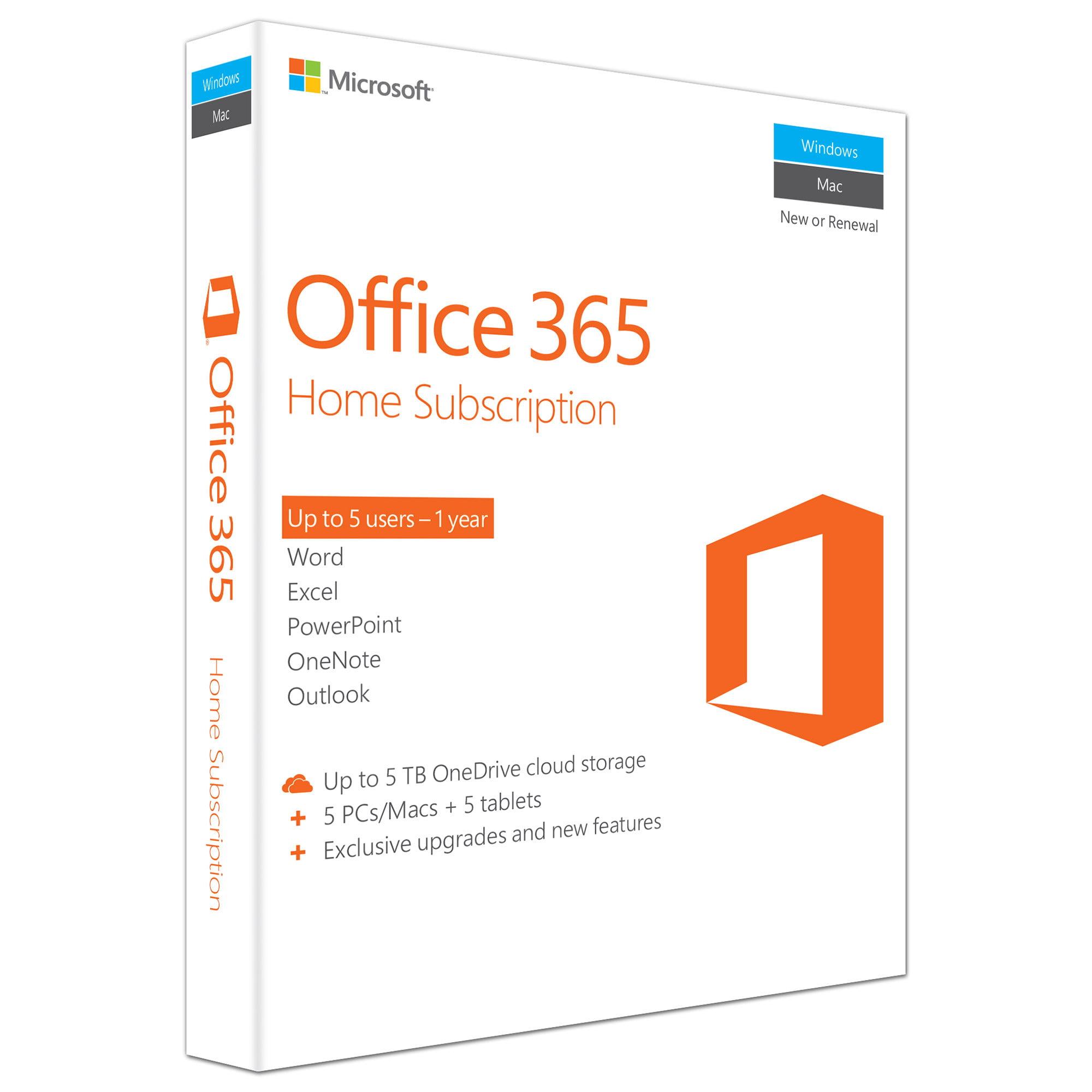 Microsoft Office 365 Home - 5 PCs or Macs Product Key Card