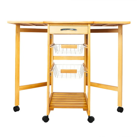 Kitchen Carts, Foldable Microwave Oven Stand Storage Cart on Wheel with a Drawer, 2 Pull-out Iron Baskets, an Open Shelf, Modern Design Microwave Cabinet with StorageHolds up to 220 lbs, Q3510 ()