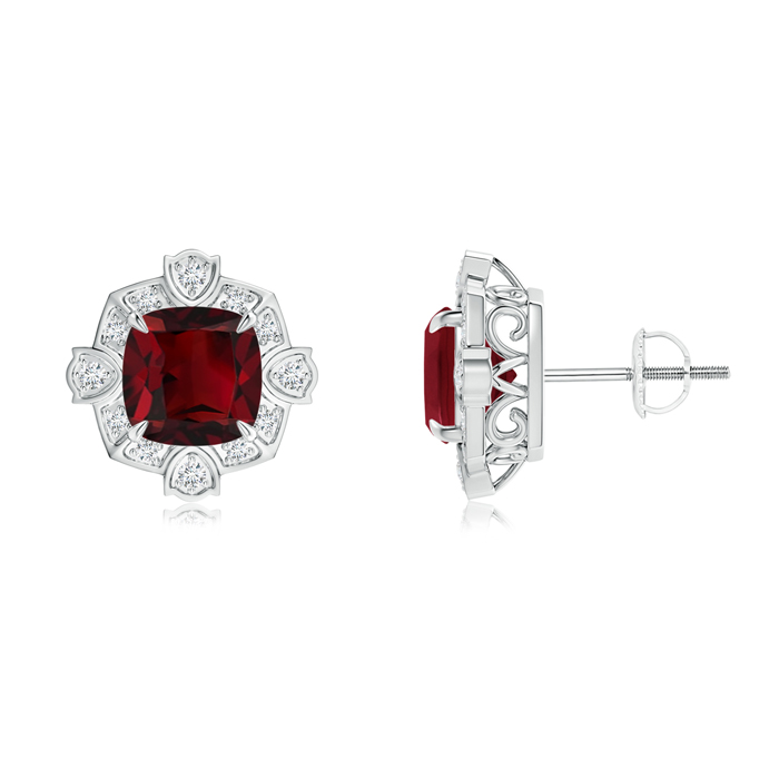 Angara Garnet Cocktail Earrings in Platinum TbQPeQyA