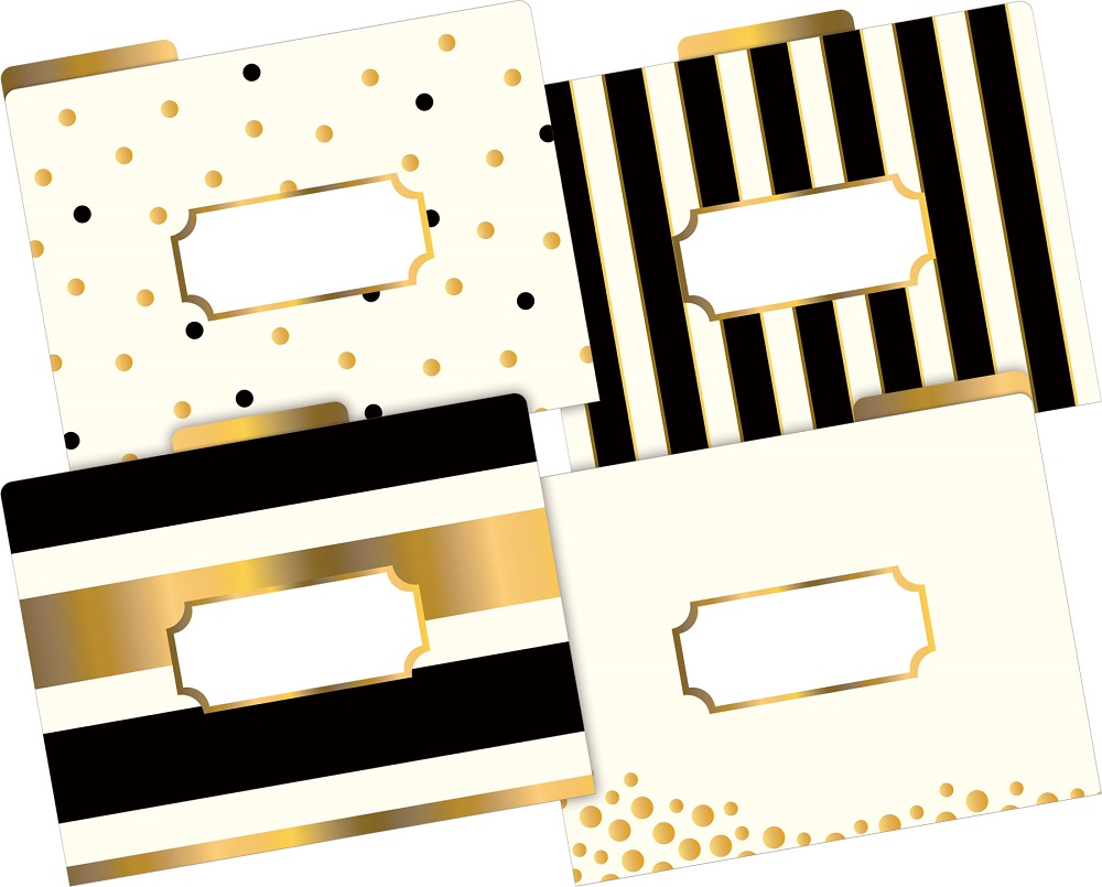 Barker Creek Letter-Size File Folders Gold Multi-Design Set (LL-1337) by Barker Creek Publishing