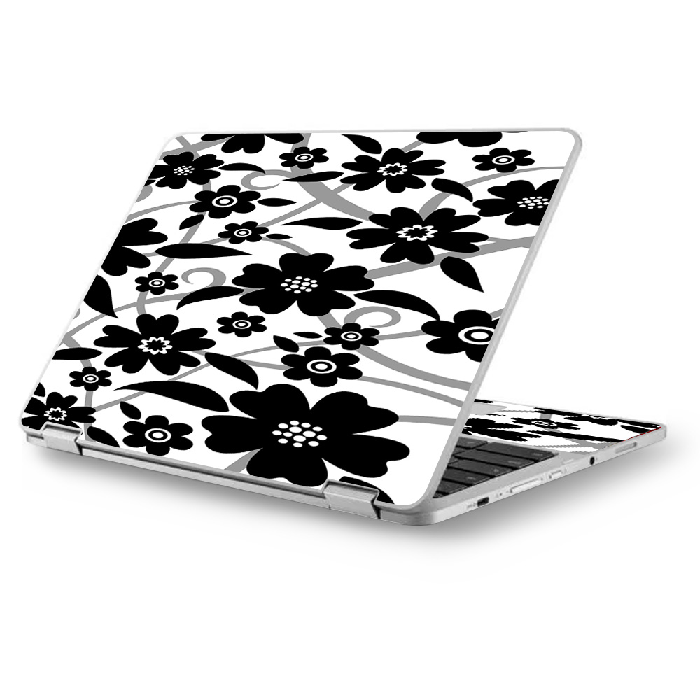 "Skins Decals for Asus Chromebook 12.5"" Flip C302CA Laptop Vinyl Wrap / Black white Flower Print"