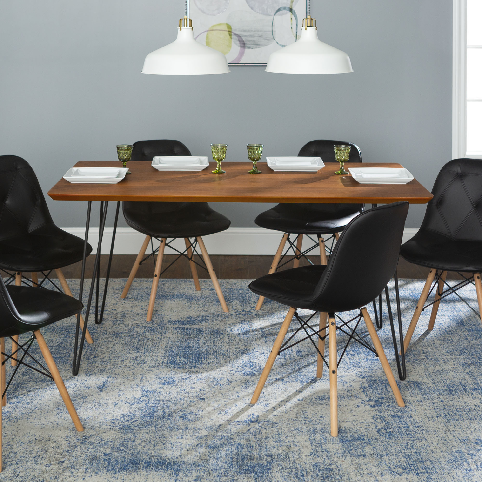Manor Park Mid-Century Modern 7-Piece Hairpin Dining Set - Walnut / Black