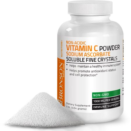 Non Acidic Vitamin C Powder Sodium Ascorbate Non GMO Soluble Fine Crystals Healthy Immune System, 454 grams (1