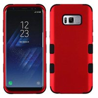 For Samsung Galaxy S8 Case G950 Dual Layer Tuff Armor Hybrid Silicone Phone Cover Hard Plastic (Red/Black)