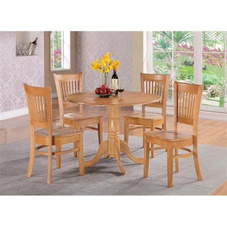 east west furniture dlva3 oak w dublin 3pc set round table with two 9 in drop leaves and 2. Black Bedroom Furniture Sets. Home Design Ideas